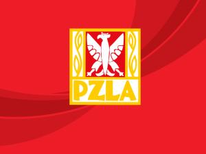 logo PZLA na czerwonym tle